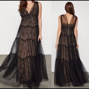 🆕 BCBGMAXAZRIA Tulle-overlay Lace Gown In Black
